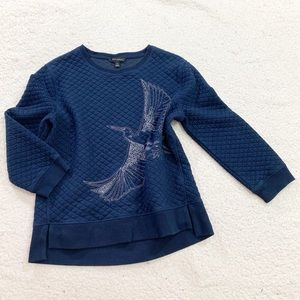 Banana republic 3/4 sleeve jacquard bird sweater
